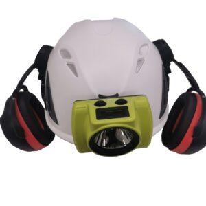 Kask Hjälm Kompletta med hörselkåpa, lampfäste o lampa
